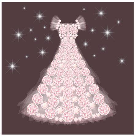lady silhouette: Diamond wedding dress, vector illustration