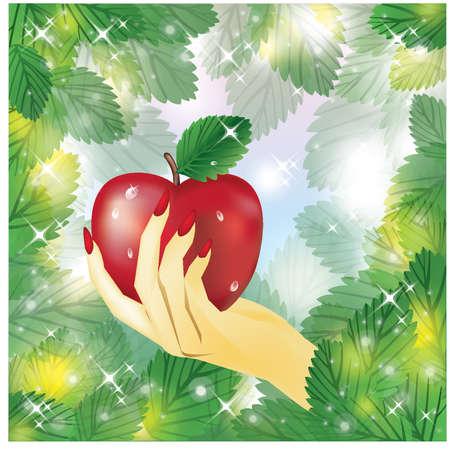 food poison: Beautiful female hand holding apple  vector illustration