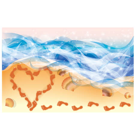 footprints in sand: Summer card  Heart with footsteps on beach in sandy , vector illustration