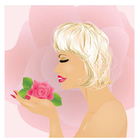 Beautiful girl with rose, vecor illustration  Vector