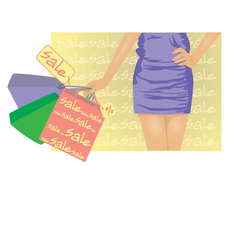 Summer sale banner, girl with shopping bags  vector illustration Vector