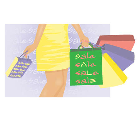 Summer sale banner, Young girl with shop bags  vector illustration Stock Vector - 12937742