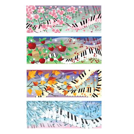 fortepian: Symphony of Four Season banery, ilustracji wektorowych Ilustracja