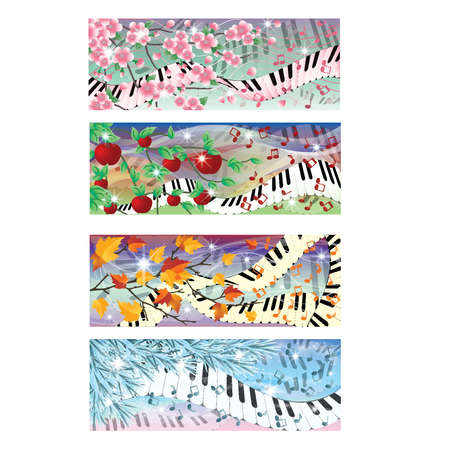 Symphony of four season banners, vector illustration Vector