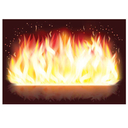 Fire flaming banner Vector