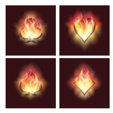 resplandor: Establecer los elementos de póquer en el fuego