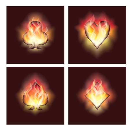 heart burn: Set poker elements in fire Illustration