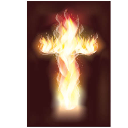 good friday: Burning fire cross Illustration