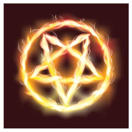 Sat�nica fuego pentagrama ilustraci�n