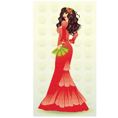 bailarina de flamenco: La hermosa chica española con una ilustración abanico verde Vectores