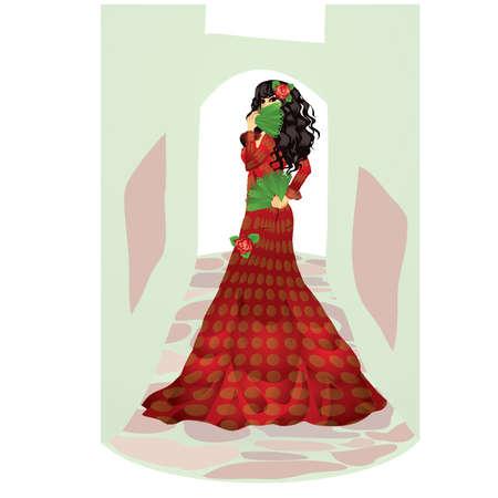 donna spagnola: Donna spagnola con due ventole illustrazione