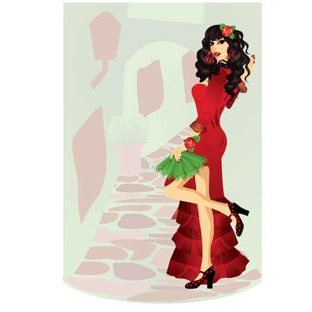latina: Sexy Spanish girl illustration