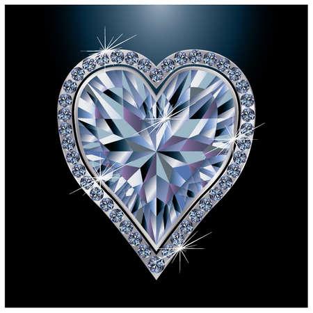 heart diamond: Diamond poker card hearts, vector illustration Illustration