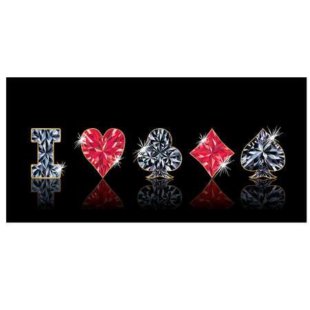 I love poker, banner. vector illustration Illustration