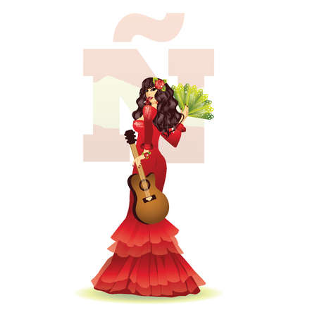 Spanish girl with guitar, vector illustration Stock Vector - 13121963