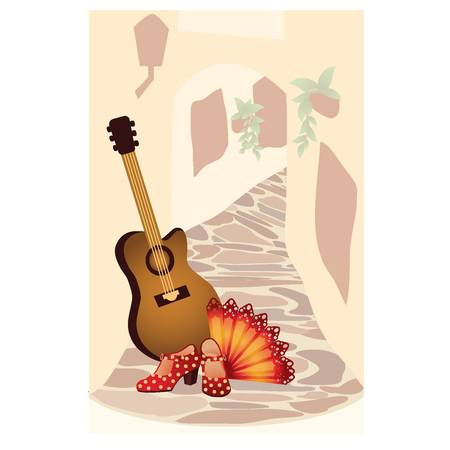 flamenco: Flamenco. Spanish card. vector illustration
