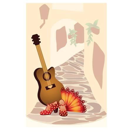 spanish: Flamenco. Spanish card. vector illustration