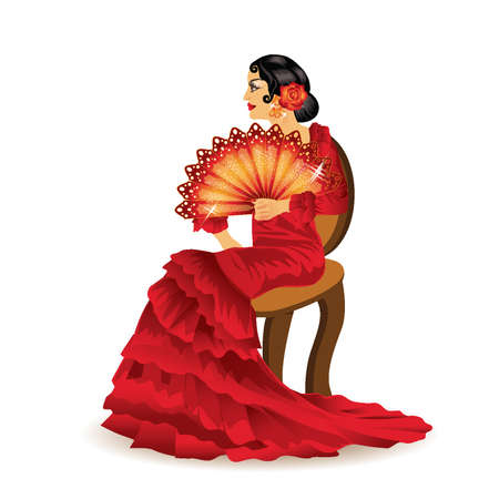 spanish dancer: Spanish woman with a fan in style of a flamenco