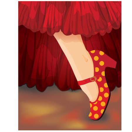 bailarina de flamenco: Baraja española, pie de la mujer en los zapatos de flamenco Vectores