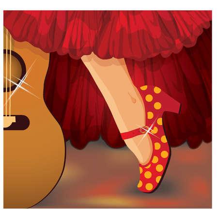sevilla: Spaanse flamenco-kaart, illustratie Stock Illustratie