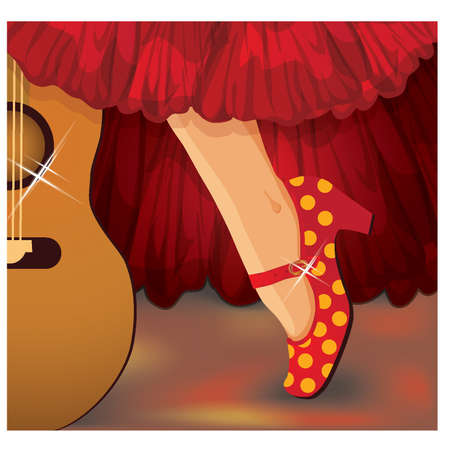 exotic dancer: Spanish flamenco card, illustration