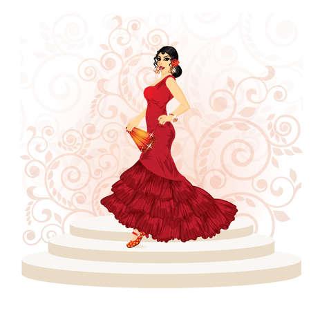 Spanish flamenco woman with a fan, illustration