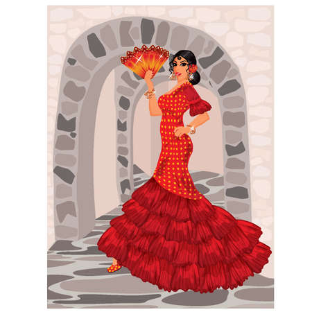 Spanish woman  in style of a flamenco  vector illustration Vector