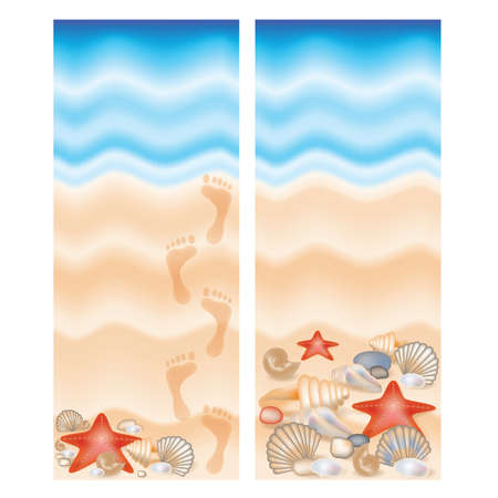 footprints in sand: Two summer banner