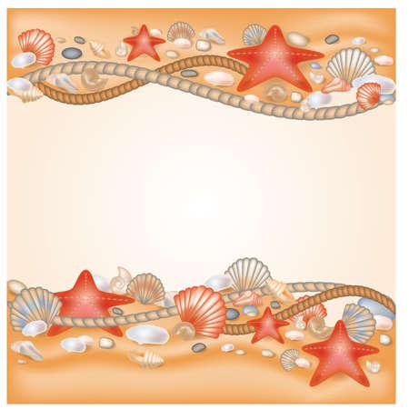 La arena y conchas marinas ilustraci�n vectorial frontera