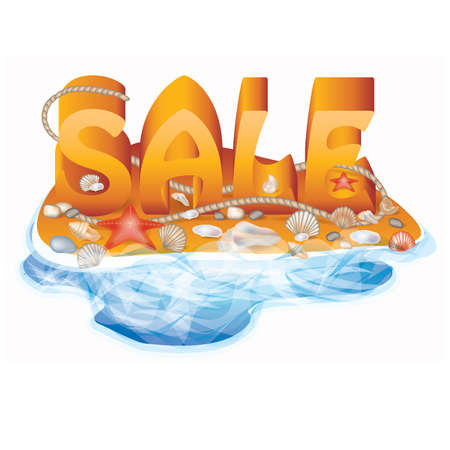 Summer sale card with seashells and rope, vector illustration