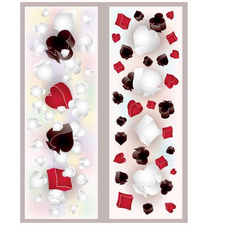 gambler: Two poker 3D banners, vector illustration Illustration