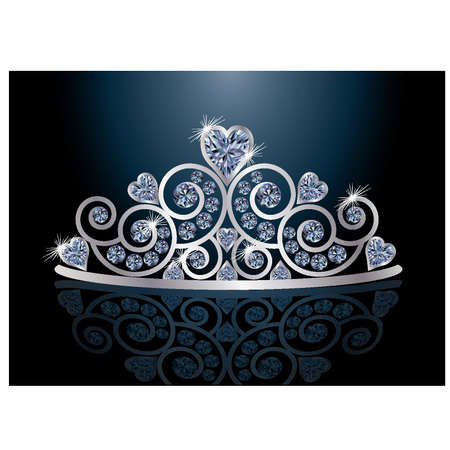 heart with crown: Tiara or diadem with reflection Illustration