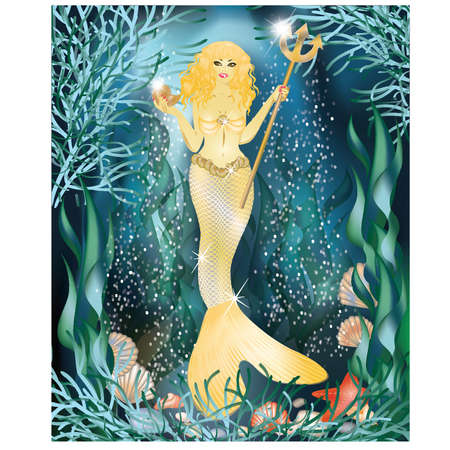 Beautiful golden mermaid with trident , vector illustration Vector