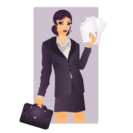 secretary office: Business woman with paper, vector illustration