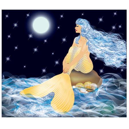 Beautiful golden mermaid and moonlight, vector illustration Illustration