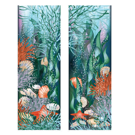 Two banners  Underwater world illustration Vector