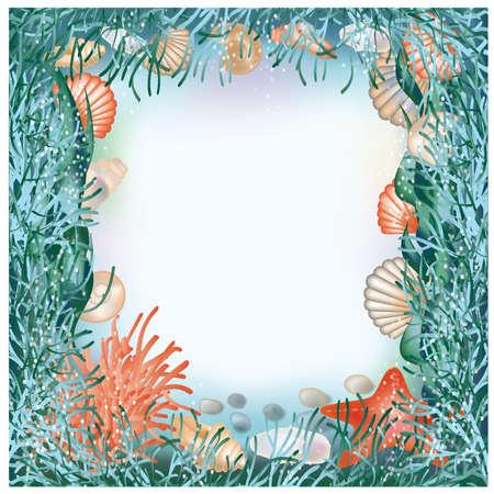 seaweed: Mundo submarino en el marco de la ilustraci�n al estilo �lbum de recortes