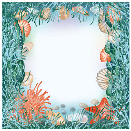 swimming underwater: Underwater world frame in style scrapbooking illustration