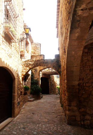 spanish landscapes: Medieval street of Pals, Catalonia, Spain    Stock Photo