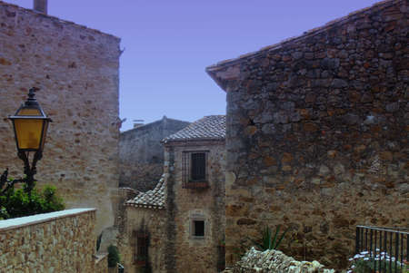pals: Medieval gothic street of Pals, Catalonia, Spain