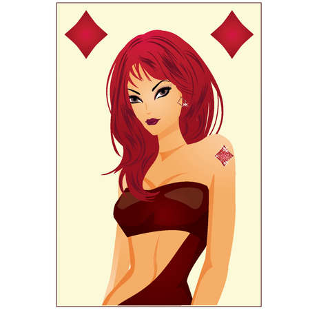 Poker diamonds girl card  vector illustration  Vector