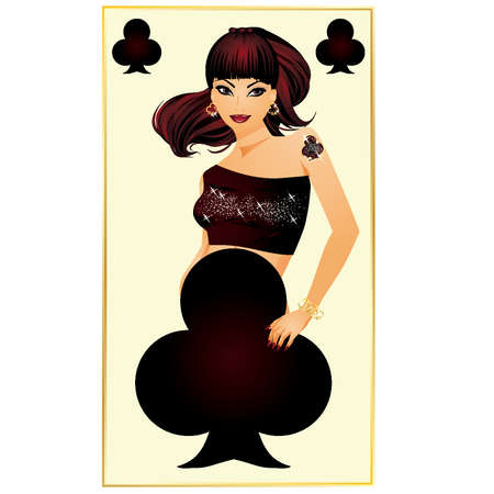 sexual girl: Clubs poker card, vector illustration  Illustration