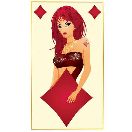 gambler: Diamonds poker card, vector illustration Illustration