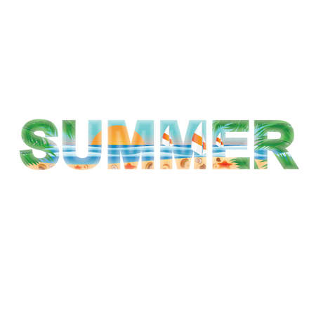 Summer banner with cockleshells  vector illustration Vector