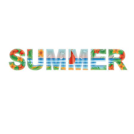 Summer banner with a scarlet sail  , vector illustration Vector