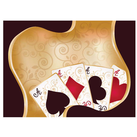 toke: Casino background with poker cards, vector illustration Illustration