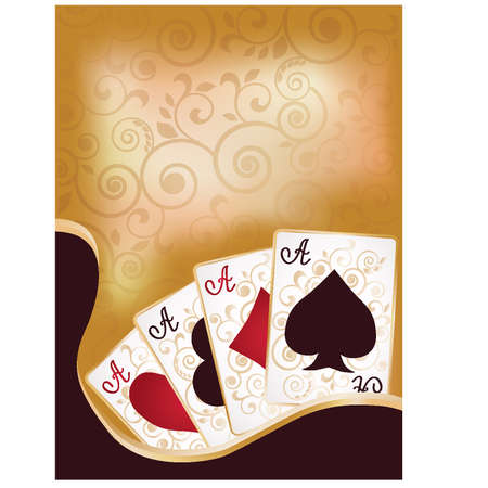 card game: Poker cards banner, vector illustration