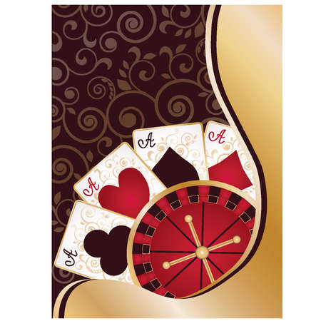 Casino banner with poker cards and roulette, vector illustration  Vector