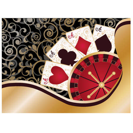 Casino card with poker elements and roulette Vector