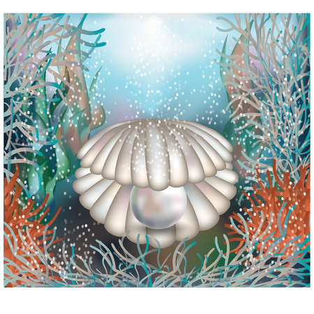 Underwater card  shell with a pearl Vector